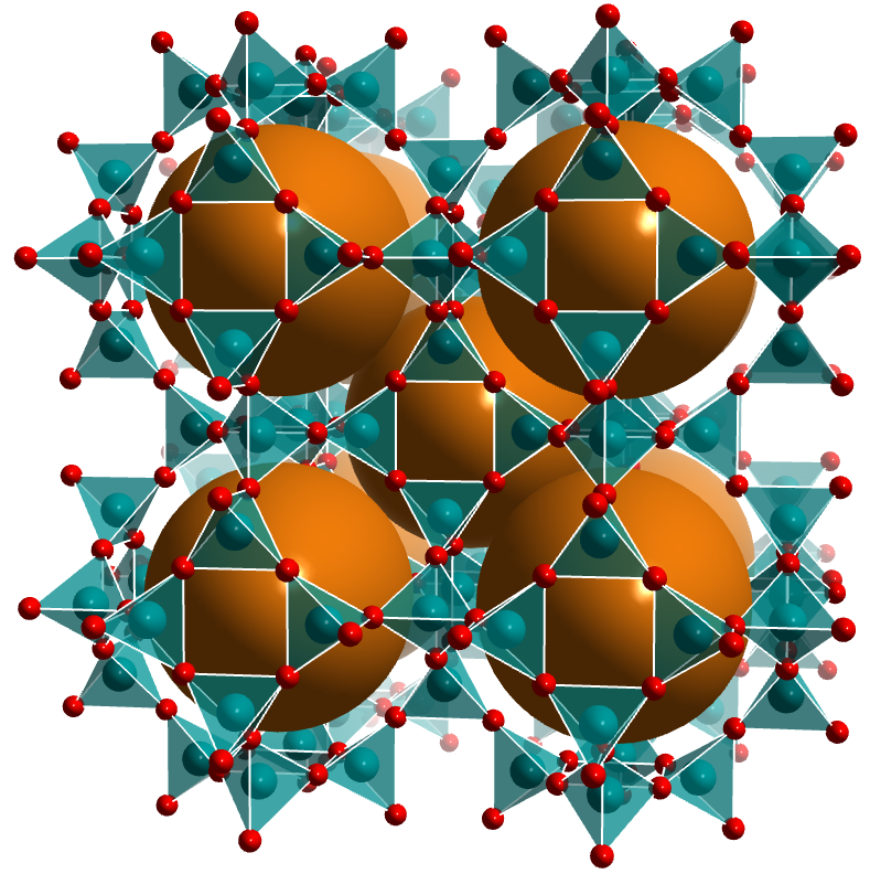The sodalite structure type. Orange spheres occupy the pore space.