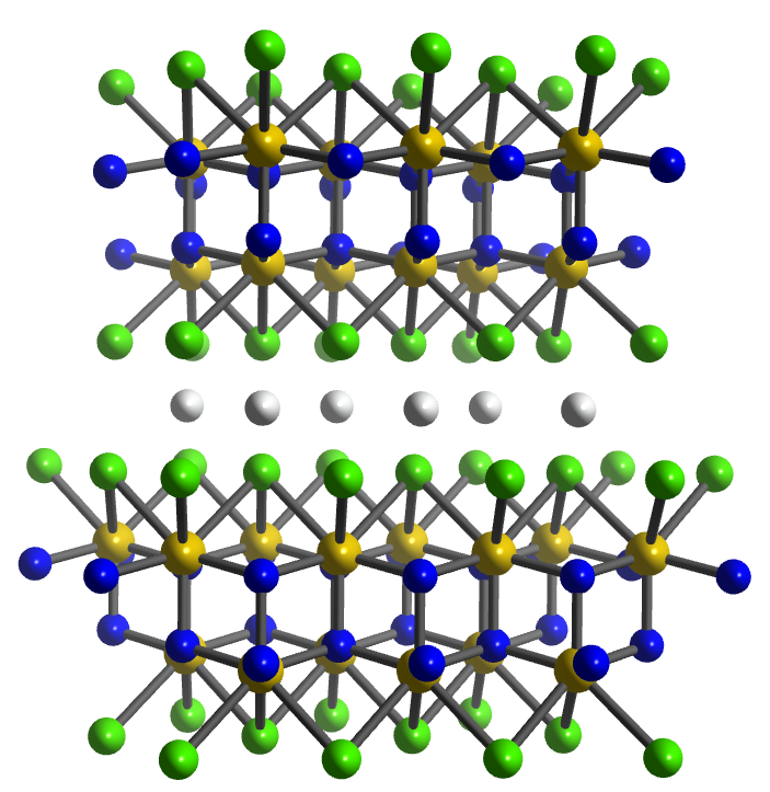 Crystal structure of LiZrNCl. Li white), Zr, yellow), N blue), Cl green).